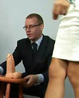Speculum and dildo insertion at a porn job interview