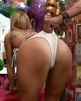 Blonde Babe is Bound and Ass Fucked in Public