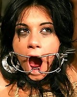 Slut Sorana gets her mouth clamped and forced open