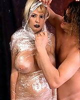 Blonde Mom with huge tits gets wrapped in plastic