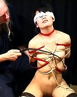 Master Osada Steve breaks in goth Kikuko with tight ropes and whip lashes